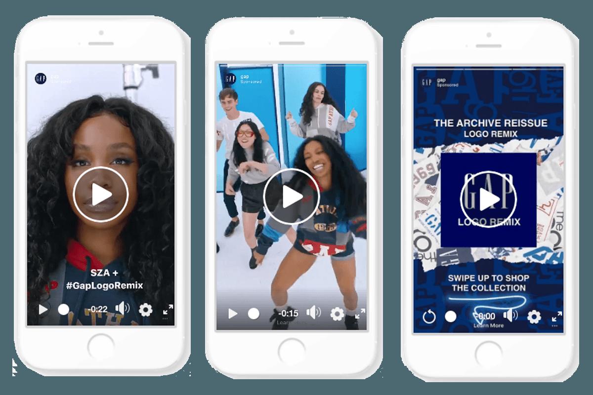 3 forskellige annonceformater på Instagram på 3 telefoner