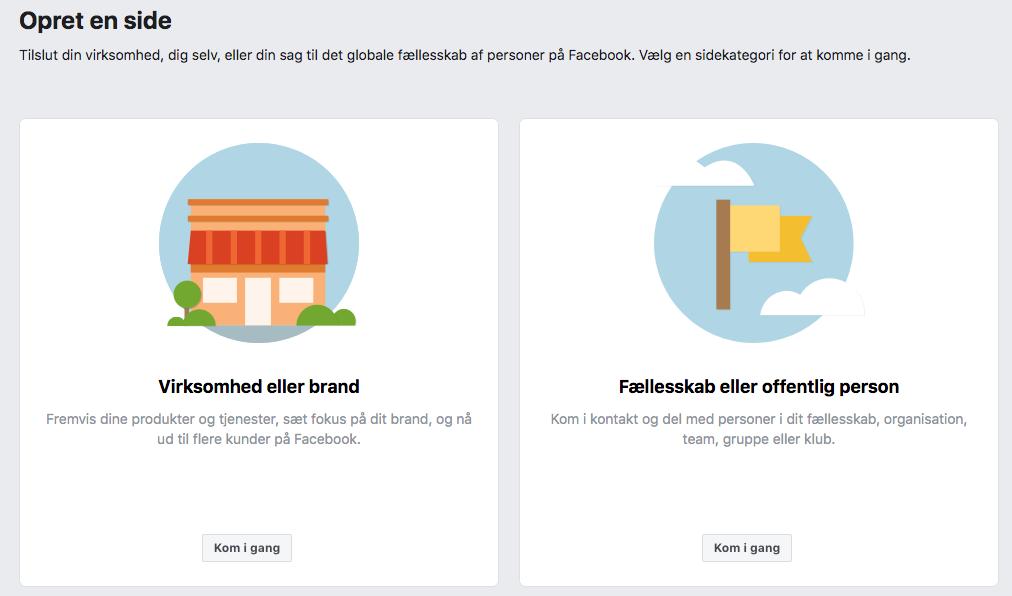 Opret Facebook side - EK Design